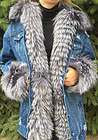 Куртка джинсовая женская с мехом чернобурки, фото 1