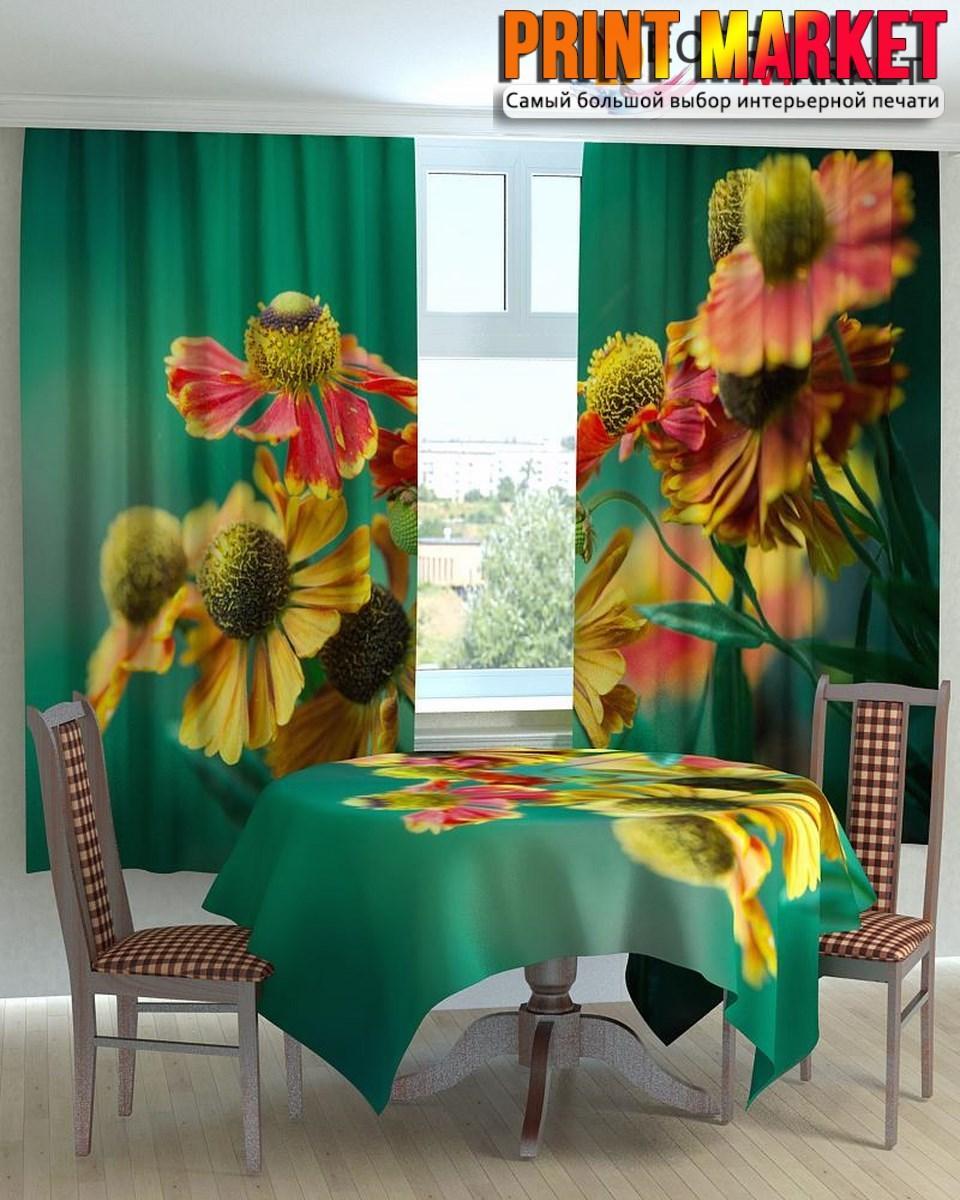 Фотошторы для кухни красно-желтые цветы