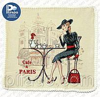 Декоративна наволочка з вишивкою кафе Париж (гобелен) 50х50. Модель HD01