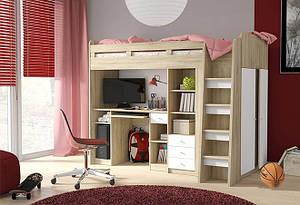 Дитяче ліжко-гірка ВМВ Холдинг Юніт дуб сонома, білий 90*200