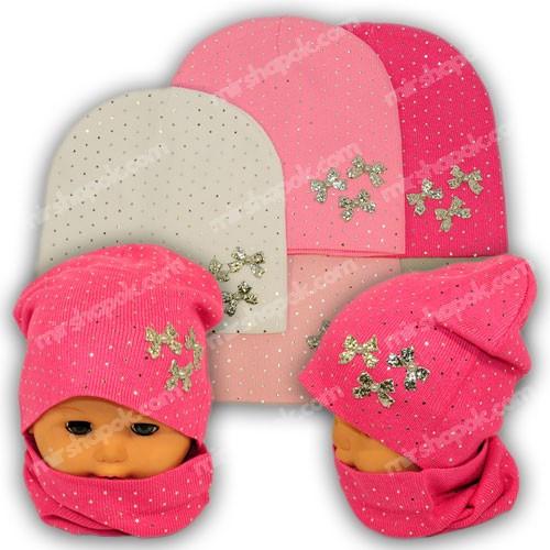 Вязаная шапка с хомутом для девочки, KY30B