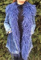 Джинсовая парка женская с мехом ламы, фото 1