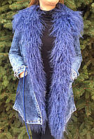 Джинсовая парка женская с мехом ламы