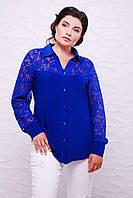 Батальная женская рубашка РОЗА электрик ТМ Таtiana 56-62  размер
