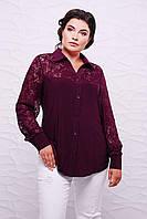 Батальная женская рубашка РОЗА слива ТМ Таtiana 56-62  размер