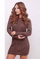 Нарядное женское вязаное теплое платье-туника с длинным рукавом коричневого цвета
