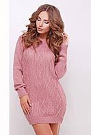 Нарядное женское вязаное теплое платье-туника с длинным рукавом розового цвета