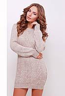 Нарядное женское вязаное теплое платье-туника с длинным рукавом цвета капучино