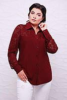 Батальная женская рубашка РОЗА кирпич ТМ Таtiana 56-62  размер