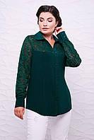 Батальная женская зеленая рубашка РОЗА ТМ Таtiana 56-62  размер