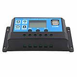 Контроллер 30А 12В / 24В с дисплеем + 2 USB гнезда, фото 7