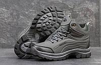 Зимние высокие мужские ботинки Ecco темно серые