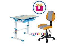 Растущая парта FunDesk Lavoro L Blue + Компьютерное ортопедическое кресло LST4 Yellow