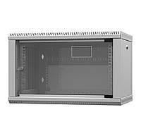 Шкаф настенный 9U 600x500 мм стеклянная дверь