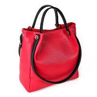 Красная сумка М130-68/47 деловой шоппер с черными вставками