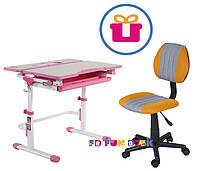 Растущая парта FunDesk Lavoro L Pink + Компьютерное ортопедическое кресло LST4 Yellow