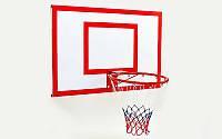Щит баскетбольный с кольцом и сеткой усиленный (щит-металл,р-р 120x90 см, кольцо d-45 см), фото 1