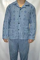 Пижама мужская голубая и синяя махра с начесом теплая на пуговицах с воротником размер M (44-46) 100% коттон