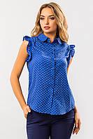 Легкая женская синяя блузка в сердечки с воланами на рукавах