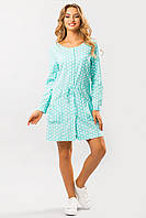 Летнее женское льняное свободное платье-рубашка мятное в горошек с карманами
