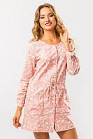 Летнее женское льняное свободное платье-рубашка розовое в цветочек с карманами