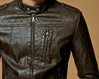 Мужская кожаная куртка. Модель 61625, фото 8