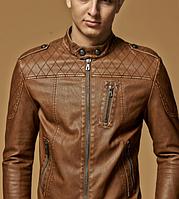 Мужская кожаная куртка. Модель 61625, фото 6