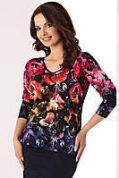 Женская трикотажная блузка из вискозы с цветочным рисунком. Модель Amelia Top-Bis, коллекция осень-зима 2017