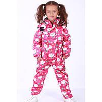 Детски зимний комбинезон на термомембране для девочки сдельный розовый
