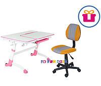 Растущая парта FunDesk Amare Pink + Компьютерное ортопедическое кресло LST4 Yellow