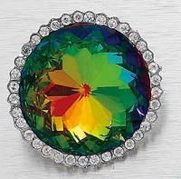 Пуговица металлическая с камнем / кристаллом 45 mm