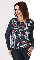 Женская трикотажная блуза с длинным рукавом и цветочным рисунком. Модель Justyna Top-Bis, осень-зима 2017-2018
