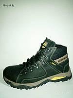 Мужские кожаные зимние ботинки чёрные