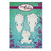 Декоративные фигурки из модельного пластика от ТМ LanaOdis - Набор цветов в вазах, 3 шт