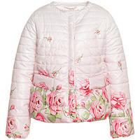 Куртка розовая с цветами для девочки весенне-осенняя