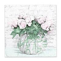 Салфетка для декупажа Розы в вазе, размер в развёрнутом виде 33x33 см, 18,5 г/м 2, 1 шт