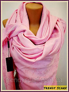 Женский Платок Louis Vuitton бренд Луи Виттон розовый цвет monogram реплика шерсть шелк 140*150 см