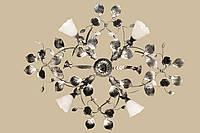 Стильная чёрная с серебром кованая люстра  4525/4  ВН