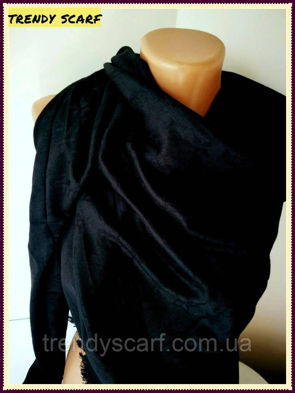 Женский Платок Louis Vuitton бренд Луи Виттон черный цвет monogram реплика шерсть шелк 140*150 см