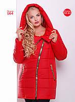 Женская зимняя удлиненная куртка  с асимметричной застежкой, р-ры 50-64 (разные цвета)
