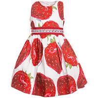 Платье красные клубники Monnalisa
