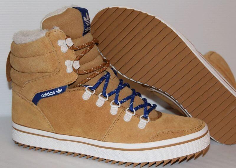 Зимние ботинки кеды рыжие с мехом Adidas Honey Hill Tan - Интернет-магазин