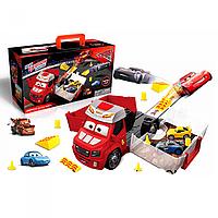 Детский трейлер гараж Тачки HT510, 2 машинки