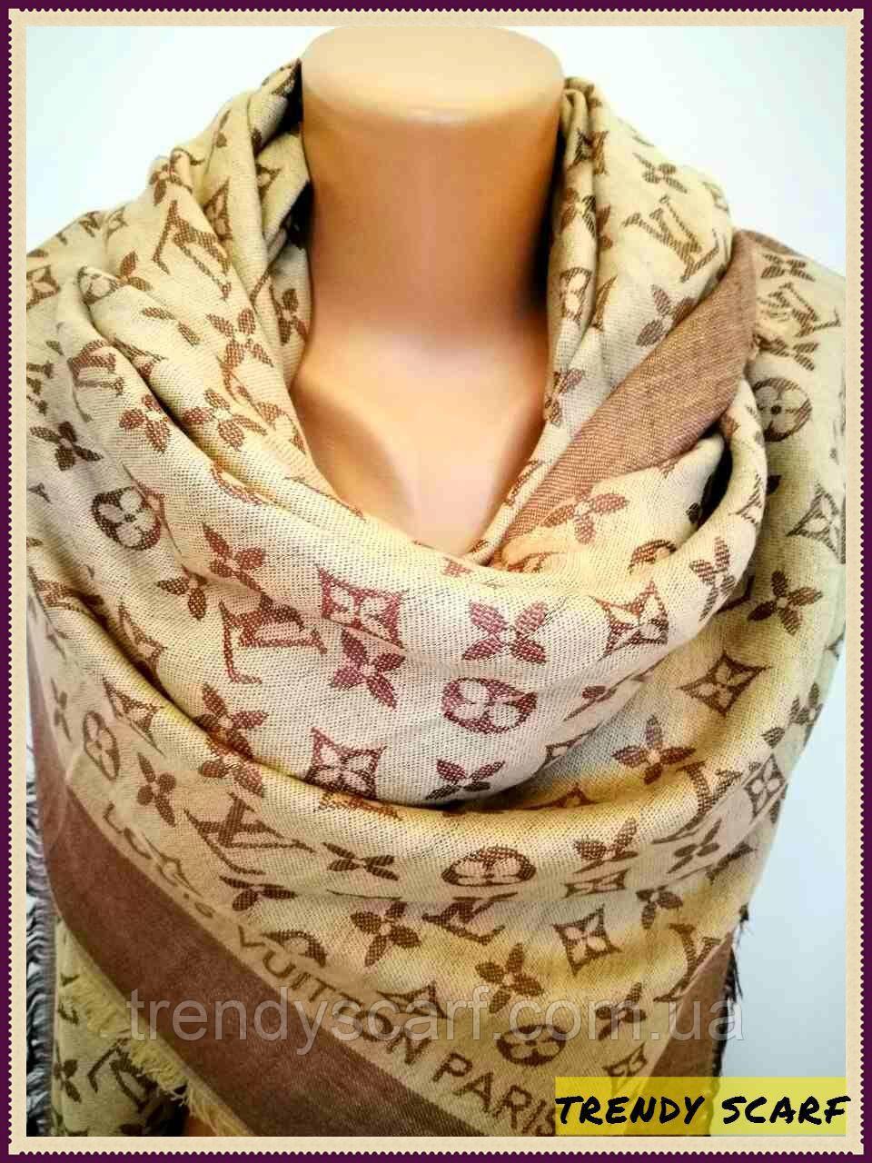 Женский Платок Louis Vuitton Луи Виттон бежевый двухсторонний платок  monogram реплика шерсть шелк 140 150 6e05025eb56