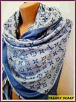 Женский Платок Louis Vuitton Луи Виттон голубой двухсторонний платок  monogram реплика шерсть шелк 140 150 21a4fcc81d9