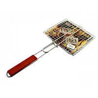 Решетка-гриль барбекю металлическая с деревянной ручкой HF-581-1