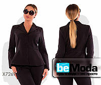 Стильный женский пиджак больших размеров оригинального фасона черный