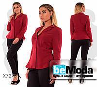 Стильный женский пиджак больших размеров оригинального фасона бордовый