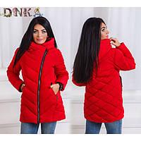 Женская зимняя куртка прямого кроя стеганка, размеры 48-60 (3 цвета)