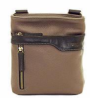 Мужская кожаная сумка планшет Mk13 серый матовый+черный